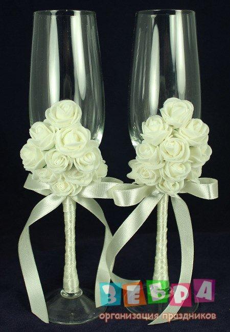 Свадебные бокалы из атласных лент своими руками